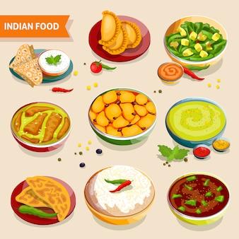 Conjunto de comida india