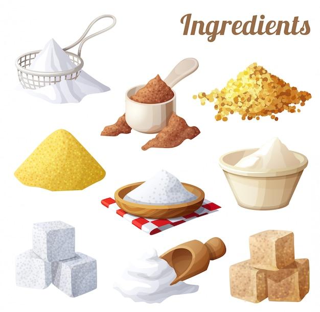 Conjunto de comida ingredientes para cocinar