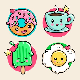 Conjunto de comida kawaii colorida