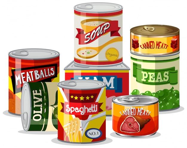 Conjunto de comida de lata