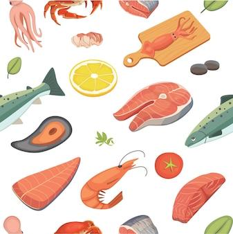 Conjunto de comida de mar de patrones sin fisuras de mariscos.