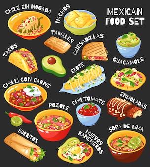 Conjunto de comida mexicana pizarra