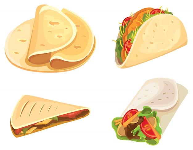 Conjunto de comida mexicana. tortilla, taco, burrito, quesadilla.