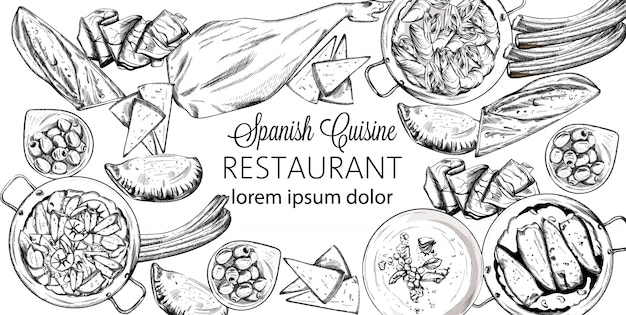 Conjunto de comida nacional española. mejillones, jamón, baguette, queso, calzone, sopa de mariscos, judías verdes o puré de espinacas