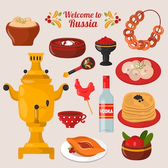 Conjunto de comida nacional rusa