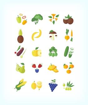 Conjunto de comida orgánica vegetariana. conjunto de iconos de frutas y verduras.