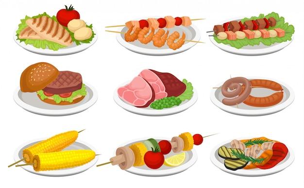 Conjunto de comida a la parrilla, deliciosos platos para el menú de la fiesta de barbacoa, carne y comida vegetariana ilustración sobre un fondo blanco