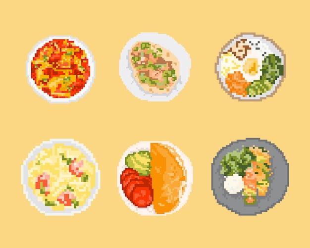 Conjunto de comida en pixel art. arte de 8 bits.