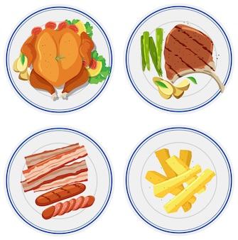 Conjunto de comida en plato