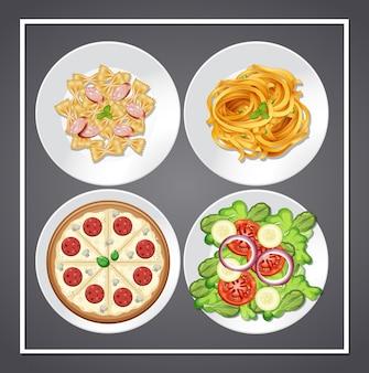 Conjunto de comida en el plato.