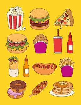 Conjunto de comida rápida, almuerzo o comida