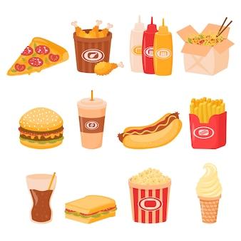 Conjunto de comida rápida para el almuerzo o el desayuno de comida callejera aislado sobre fondo blanco. sándwich de hamburguesa insalubre de comida rápida de dibujos animados, hamburguesa, bocadillos de menú de restaurante de comida de pizza.