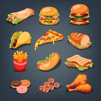 Conjunto de comida rápida. colección de sabrosos bocadillos. pizza y hamburguesa