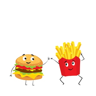 Un conjunto de comida rápida colorida en dibujado a mano.