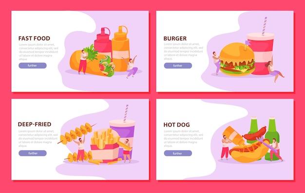 Conjunto de comida rápida de cuatro banners horizontales.