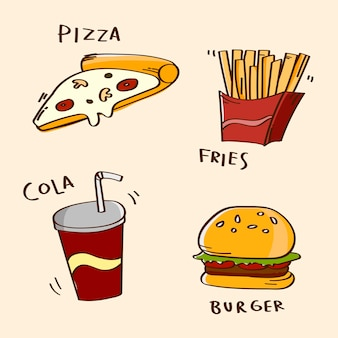Conjunto de comida rápida dibujada a mano