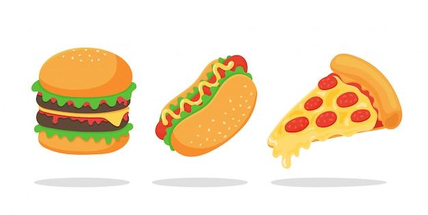 Conjunto de comida rápida. las hamburguesas de hot dog y la pizza son comida estadounidense popular. aislar sobre fondo blanco.