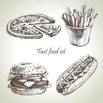 Conjunto de comida rápida. ilustraciones dibujadas a mano