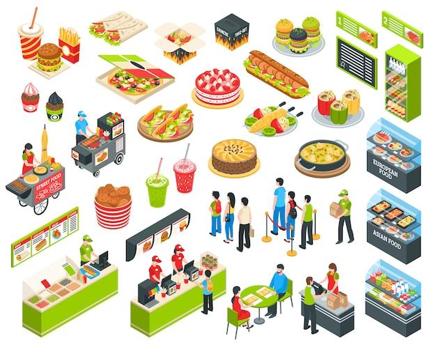 Conjunto de comida rápida isométrica cort