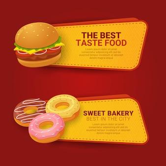 Conjunto de comida rápida de plantilla de banner horizontal con información