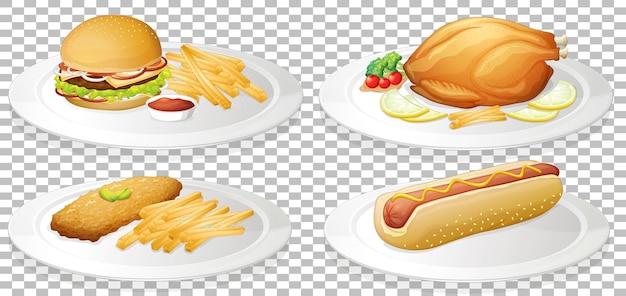 Conjunto de comida rápida sobre fondo transparente
