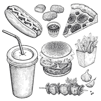 Conjunto de comida rápida.