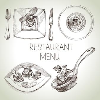 Conjunto de comida de restaurante boceto dibujado a mano. menú de cocina europea. ilustración