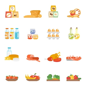 Conjunto de comida de supermercado