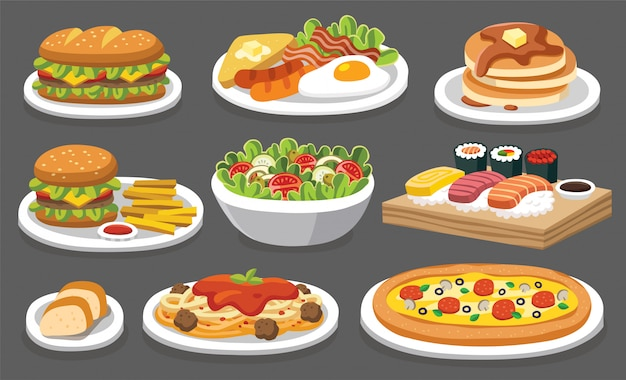 Conjunto de comida tradicional. comamos algo delicioso y sabroso. iconos para logotipos y etiquetas de menú.