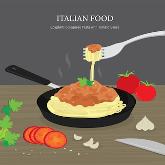 Conjunto de comida tradicional italiana, espaguetis a la boloñesa pasta con salsa de tomate. ilustración de dibujos animados