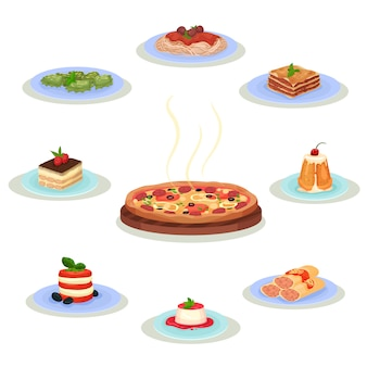 Conjunto de comida tradicional italiana. sabrosos platos y postres dulces. tema culinario. elementos para recetario o menú