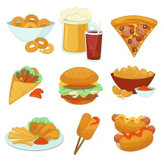 Conjunto de comidas de comida rápida.