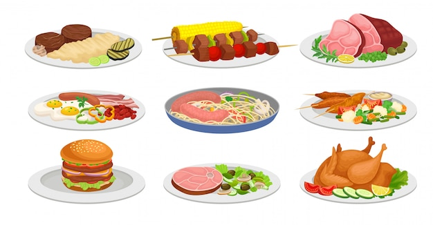 Conjunto de comidas preparadas para el almuerzo. puré de papas, chuletas, kebab, salchichas, pollo, huevos revueltos, sándwich. ilustración vectorial