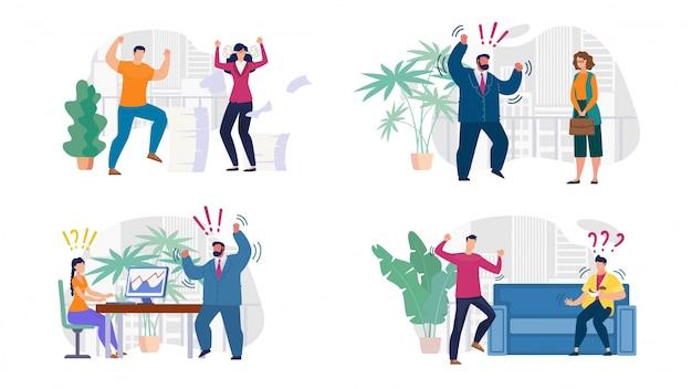 Conjunto de compañeros de trabajo, jefes y empleados agresivos