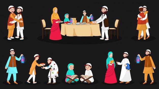 Conjunto completo de personajes musulmanes felices en la ocasión del festival.