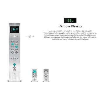 Conjunto de componentes electrónicos de ascensor, elemento de botones de elevación