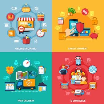Conjunto de composición coloreada de comercio electrónico