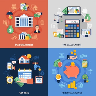 Conjunto de composición de diseño fiscal