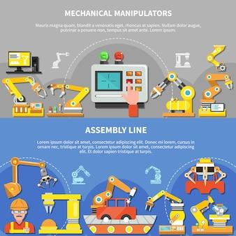 Conjunto de composición de dos brazos robóticos horizontales con manipuladores mecánicos y línea de montaje.