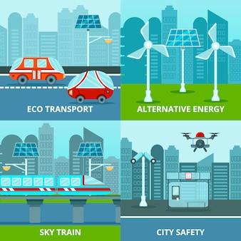 Conjunto de composición ecológica urbana