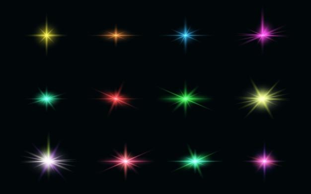 Conjunto de composición de efectos de luz realista con colores brillantes.