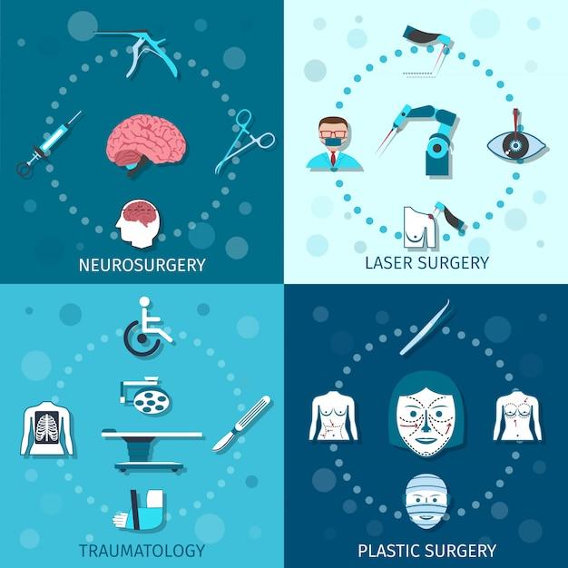 Conjunto de composición de elementos de cirugía médica