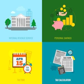 Conjunto de composición de elementos planos de impuestos