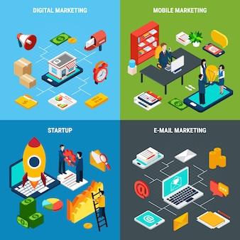 Conjunto de composición de herramientas de inicio de negocios y marketing digital en línea y móvil