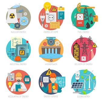 Conjunto de composición de iconos de energía plana
