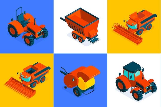 Conjunto de composición isométrica agrícola de seis iconos cuadrados de colores con maquinaria para campo