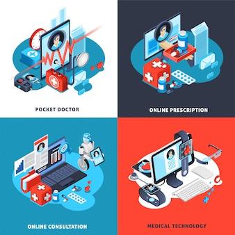 Conjunto de composición isométrica de salud digital