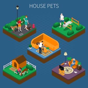 Conjunto de composición de personas con mascotas