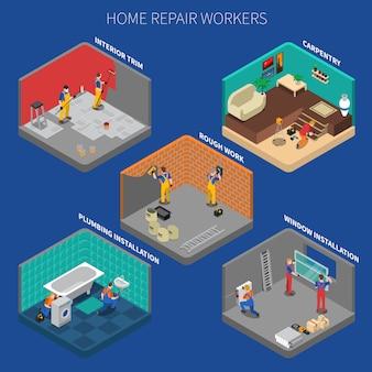 Conjunto de composición de personas de trabajador de reparación de hogar