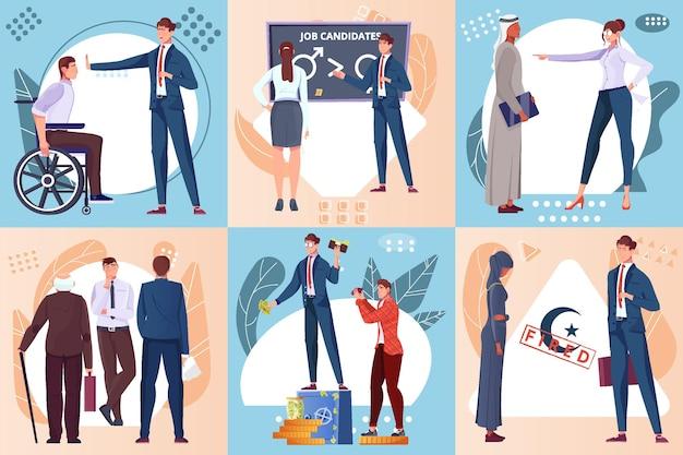 Conjunto de composición plana de discriminación con candidatos de trabajo con diferentes características.